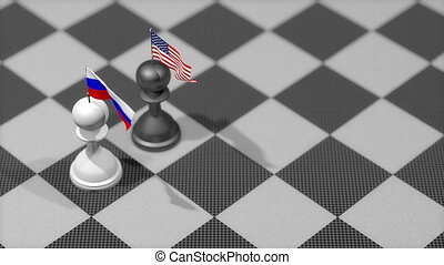 """Chess Pawn with country flag, Russia, United States."""