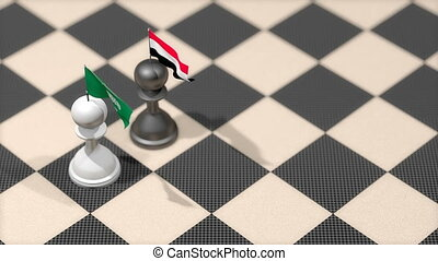 """Chess Pawn with country flag, Saudi Arabia, Yemen"""