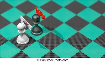 """Chess Pawn with country flag, South Korea, China."""