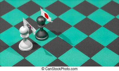 """Chess Pawn with country flag, South Korea, Japan."""