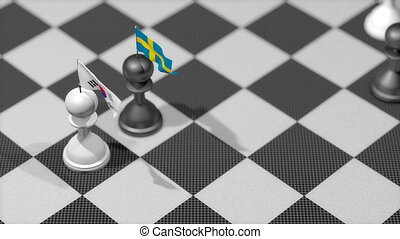 """Chess Pawn with country flag, South Korea, Sweden."""
