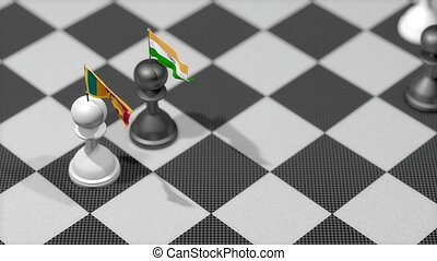 """Chess Pawn with country flag, Sri Lanka, India."""