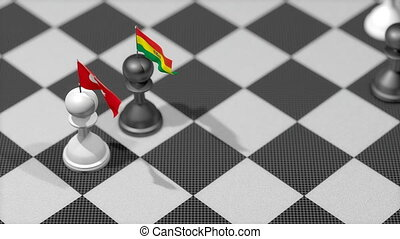 """Chess Pawn with country flag, Turkey, Bolivia."""