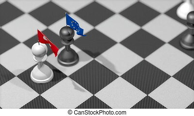 """Chess Pawn with country flag, Turkey, European Union"""