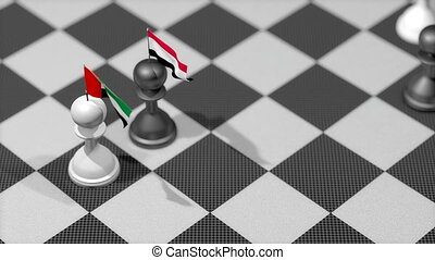 """Chess Pawn with country flag, UAE, Yemen."""