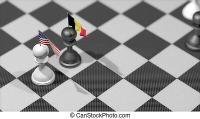 """Chess Pawn with country flag, United States, Belgium."""