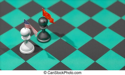 """Chess Pawn with country flag, United States, China."""