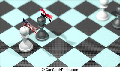 """Chess Pawn with country flag, United States, Iraq."""