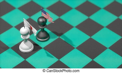 """Chess Pawn with country flag, United States, Japan."""