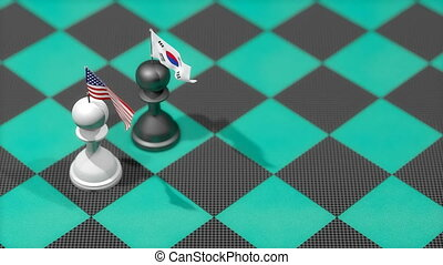 """Chess Pawn with country flag, United States, South Korea."""
