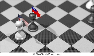 """Chess Pawn with country flag, United States, Taiwan."""