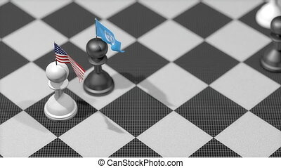 """Chess Pawn with country flag, United States, United Nation."""