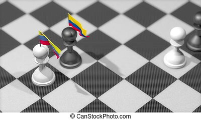 """Chess Pawn with country flag, Venezuela, Columbia."""