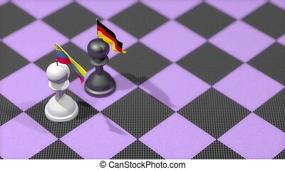 """Chess Pawn with country flag, Venezuela, Germany."""