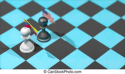 """Chess Pawn with country flag, Venezuela, United States."""