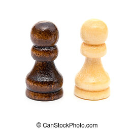 Chess Pawns stand on white background