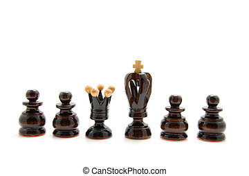 Chess pawns - king and queen chess pawn isolated on white...