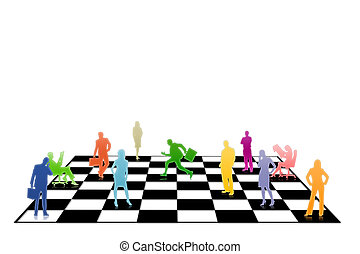 Chess - People businessmen on a chessboard on a white...