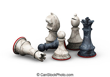3D render of chess pieces