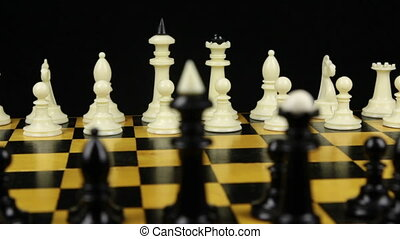 Chess pieces are placed on the chessboard, the beginning of ...