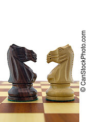 Chess pieces - black and white knight
