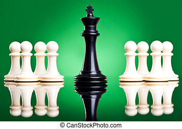 black king in front of white pawns