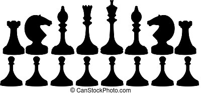Chess pieces black on white isolated