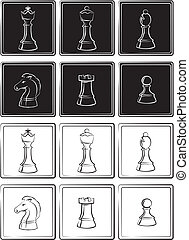 chess pieces - board game, strategic game, black and white ...