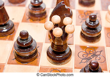 Chess pieces in action