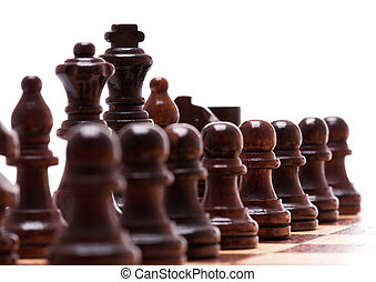 Dark chess pieces isolated on white background