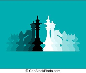 Chess Pieces Flat Design vector Background