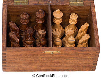 Chess pieces in a box