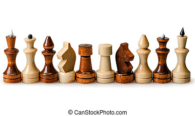 Chess pieces in a row