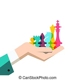 Chess Pieces in Human Hand. Business Strategy Vector Illustration.