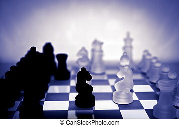 chess pieces in purple