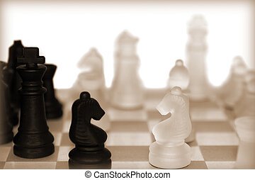 chess pieces in sepia