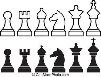 chess pieces including king, queen, rook, pawn, knight, and...