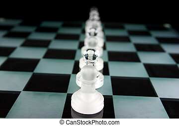 Chess Pieces on a glass board - Pawnage - Chess Game - Chess...