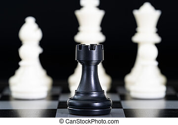 Chess pieces on chessboard - Close up chess pieces on...