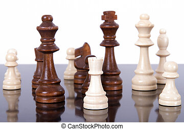 Chess Pieces on Glass Table