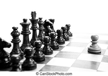 chess pieces on the board on white background