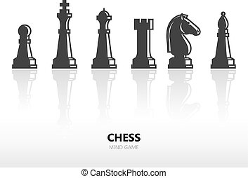 Chess pieces or chess figures. Vector silhouette icon set...