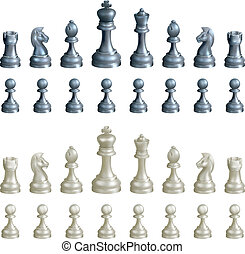 Chess pieces set - An illustration of a complete set of...