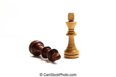 Chess pieces set on white background