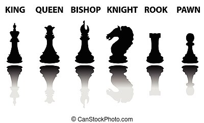 Chess pieces silhouette set