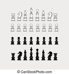 Chess pieces silhouette, vector illustration