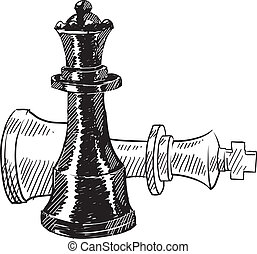 Doodle style chess pieces or strategy icon illustration in vector format suitable for web, print, or advertising use. Includes king and queen.