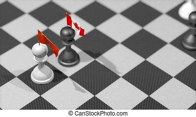 """chess, pion, land, vlag, china, canada."""