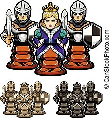 Chess Queen and Pawns