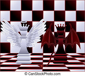 Chess Queen angel and devil. vector
